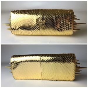 Christian Louboutin Marquise Gold Spiked Clutch
